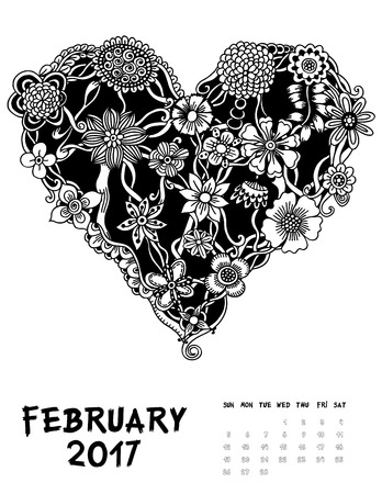 calendar day: February 2017, Line Art calendar page of month. Hearts of flowers. Black and white illustration. Set #1 Illustration