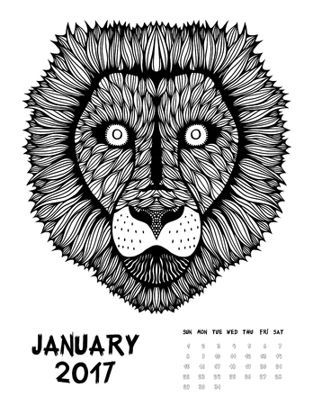 January 2017 calendar. Line Art style, Lion. Black and white. For Print anti-stress coloring page. set #2