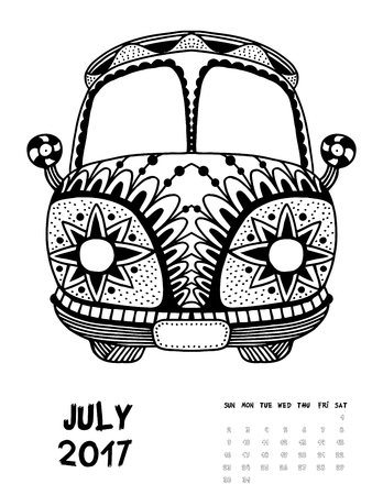 July, 2017 calendar. Line Art Black and white Illustration. Van. Print anti-stress coloring page. Set 2