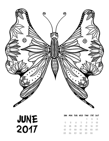 June, 2017 calendar. Line Art Black and white Illustration. Butterfly. Print anti-stress coloring page.