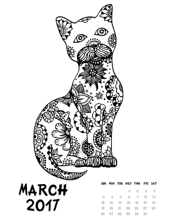 March, 2017 calendar. Line Art Black and white Illustration. Cat. Print anti-stress coloring page.