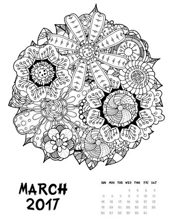 March, 2017 calendar. Line Art Black and white Illustration. Flower set. Print anti-stress coloring page.