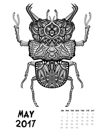May, 2017 calendar. Line Art Black and white Illustration. Big Bug. Print anti-stress coloring page.
