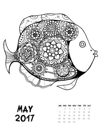 May, 2017 calendar. Line Art Black and white Illustration. Fish. Print anti-stress coloring page.