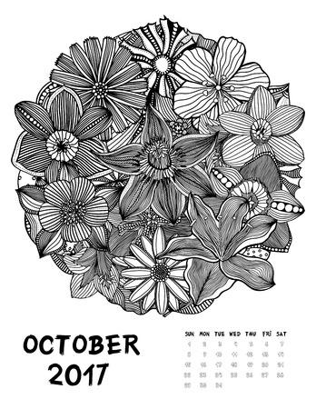 October, 2017 calendar. Line Art Black and white Illustration. Flower set. Print anti-stress coloring page.