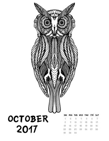 De Octubre De 2017 Calendario. Arte Ilustración Blanco Y Negro. Búho ...
