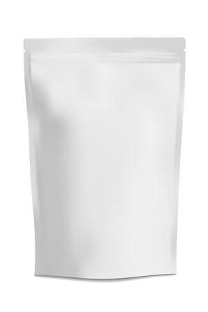 Bianco Bianco Carta stagnola Cibi Doy pacchetto Stand Up Pouch Bag Imballaggio con la chiusura lampo. Illustrazione isolato su sfondo bianco. Mock Up, Mockup Modello pronto per la progettazione. Vector EPS10 Archivio Fotografico - 63791533