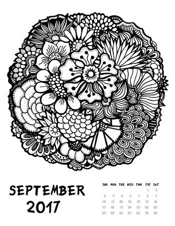 September 2017 Kalender. Linie Kunst Schwarz-Weiß-Illustration ...