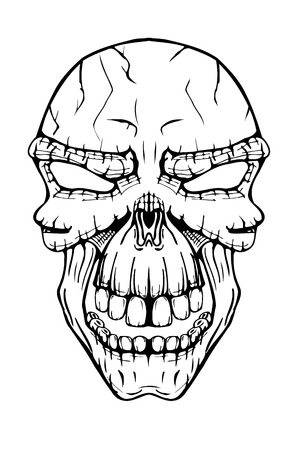 The image of the terrible skull. Vector illustration. Isolated on white, Line art sketch image Illustration