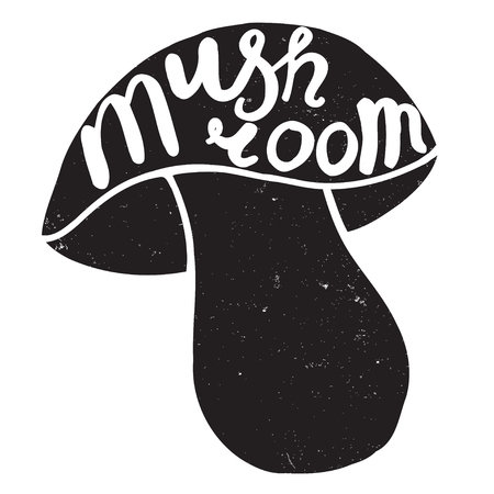 diabolic: Mushroom graphic drawing trace with art lettering. Vector illustration
