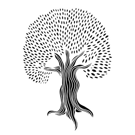 passion  ecology: Tree Hand drawn. Vector illustration on white background