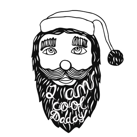 head i: Santa Claus head. Vintage grunge quote poster I am Cool Daddy, It can be used for printing on t-shirts or coloring books.