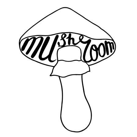 fly agaric: Mushroom graphic drawing trace with art lettering. Vector illustration
