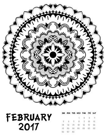 Vector calendar 2017. Ornament card with mandala. Calendar made in vector. Colorful design for any other kind of design, birthday and other holiday, kaleidoscope, yoga, India Illustration