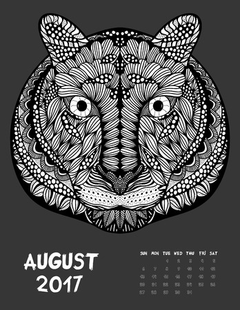 August, 2017 calendar. Line Art Black and white Illustration. Tiger. Print anti-stress coloring page.