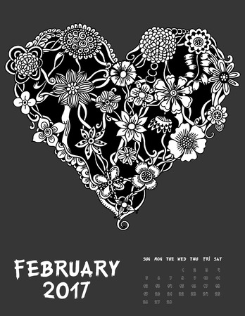 calendar day: February 2017, Line Art calendar page of month. Hearts of flowers. Black and white illustration.