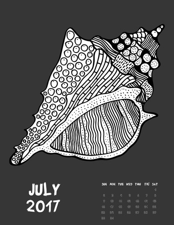 July, 2017 calendar. Line Art Black and white Illustration. Seasell. Print anti-stress coloring page. Illustration