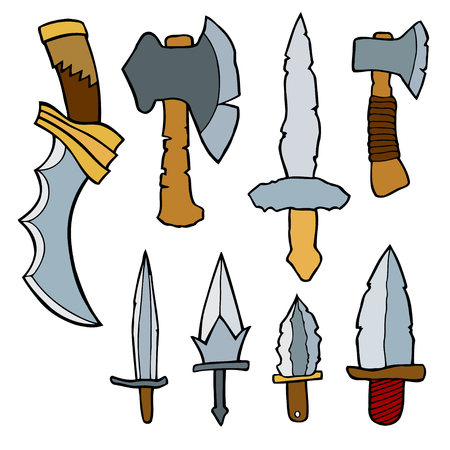 flint: Vector set of weapons weapons. Colored Hand drawn illustration, isolated on white