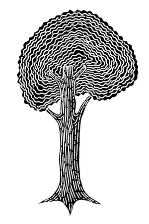 sketched shapes: Monochrome abstract tree. Vector image, Monochrome Hand drawn sketch illustration