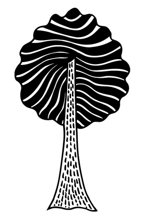 Monochrome abstract tree. Vector image, Monochrome Hand drawn sketch illustration