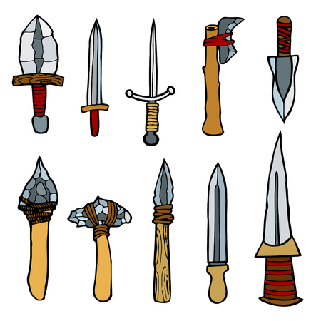 wooden boomerang: Vector set of weapons weapons. Colored Hand drawn illustration, isolated on white