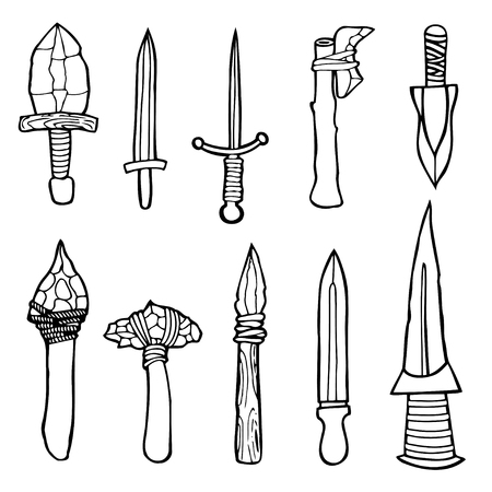cold steel: Edged weapons set. Cold steel arms. Collection of military weapons: swords, axes, knives, kunai, shuriken, mace. Vector illustration, Hand drawn, black and white image Illustration