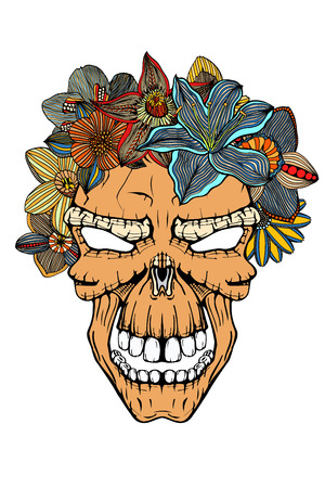 Human terrible skull and flowers. Vector illustration. Hand drawn image