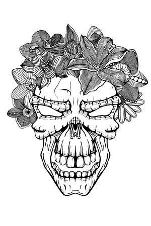 Skull with the succulent plants and flowers. Vector illustration.