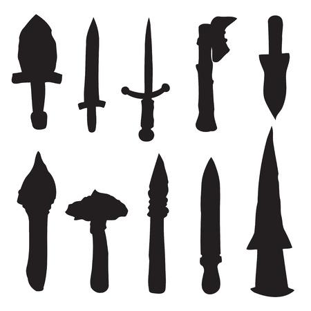 machete: Set the Sword, Swords, Ax, Machete. Vector Illustration. EPS10