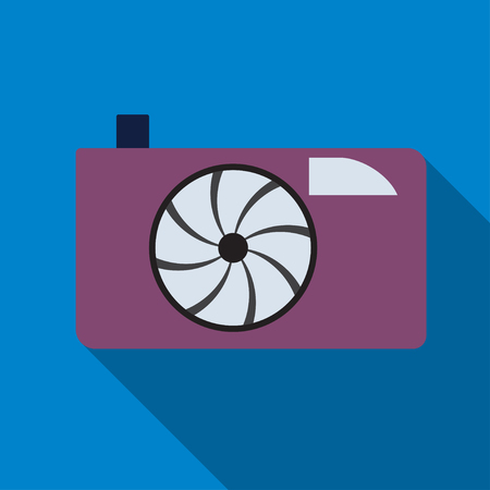 Photocamera icon on the blue background.