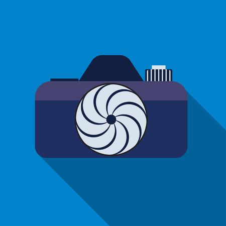 photocamera: Photocamera icon on the blue background