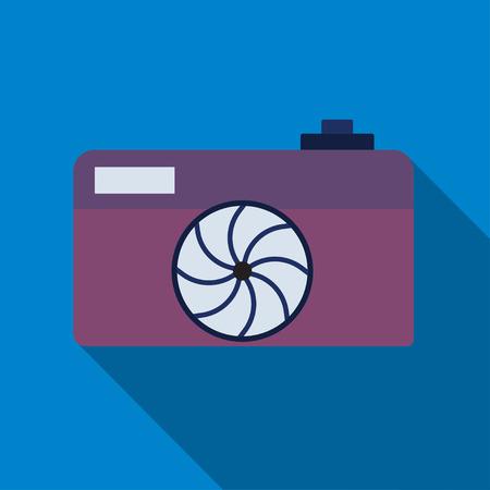 photocamera: Camera icon. Professional photocamera symbol. Blue circle button with flat web icon. Vector