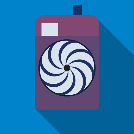 Camera icon. Professional photocamera symbol. Blue background with flat web icon. Vector Illustration