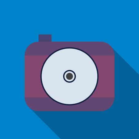photocamera: Camera icon. Professional photocamera symbol. Blue background with flat web icon. Vector Illustration