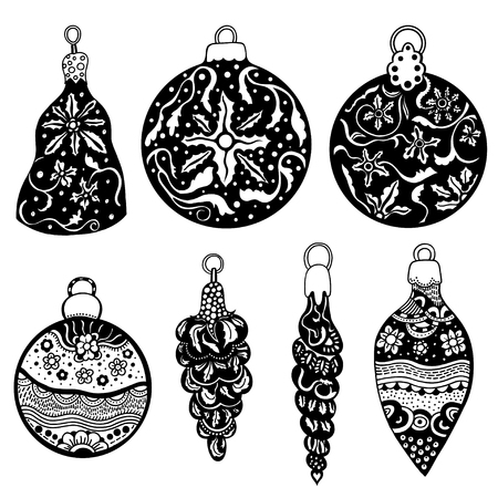 tree decorations: Hand drawn Christmas balls zentangle style for coloring book. Illustration