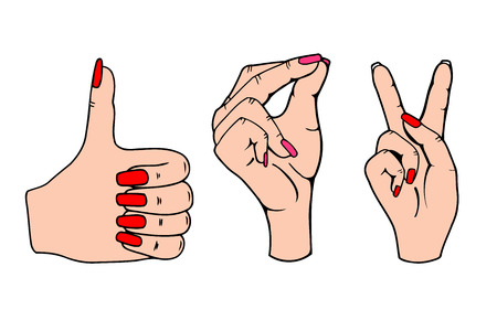 poke: Female hands symbolizing: click well and win. Vector illustration isolated on white background.