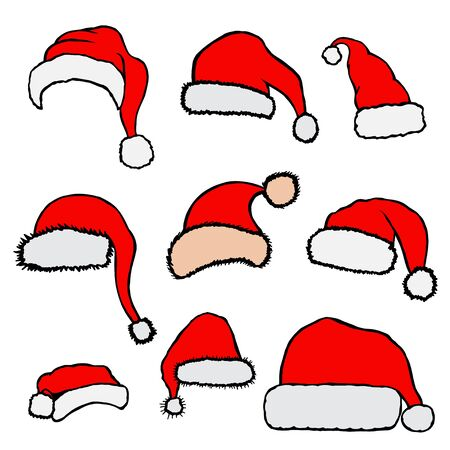 nick: Vector set red Christmas Santa Claus hats isolated on white background