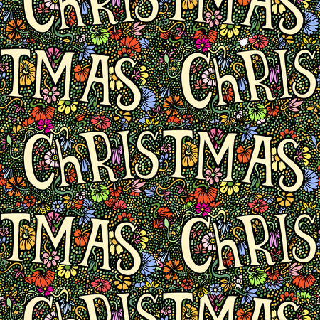 christmassy: Seamless Alphabet word Christmas on floral hand drawn background
