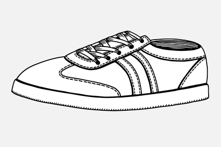 drow: Vector Sketch Illustration - Single Side View Skaters Shoes on White Background.