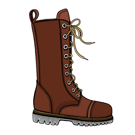 buckles: Vector Illustration of womans brown leather boots with decorative belts and metallic buckles without shoelace on white background