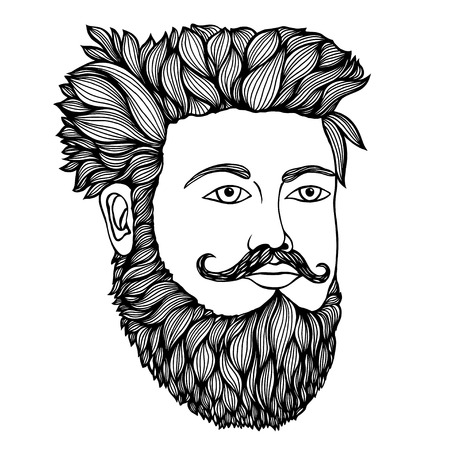 Hand drawn portrait of moustached man full face. Vector illustration. Illustration