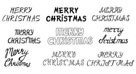 overlays: Set of hand drawn Merry christmas and Happy new year lettering. Winter decoration elements for design greeting cards, photo overlays, invitations and more Illustration