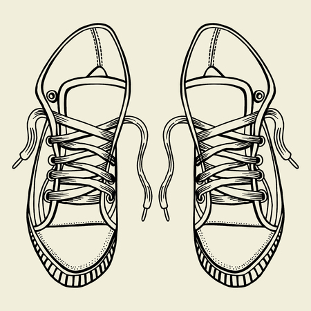 shoelaces: Sketch sneakers,vector illustration isolated on beige background, hand drawn, top view Illustration