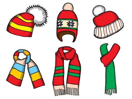 Winterkleidung. Weihnachtszipfelmütze. Gestrickte Hüte und Schals.