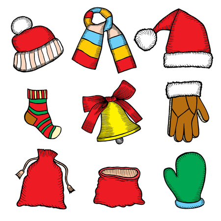 Colorful patch badges of different Merry Christmas attributes. Set of Happy New Year stickers, pins, magnets in cartoon comic style. Santa Claus Mittens, candy cane, beard, cap and bell Illustration