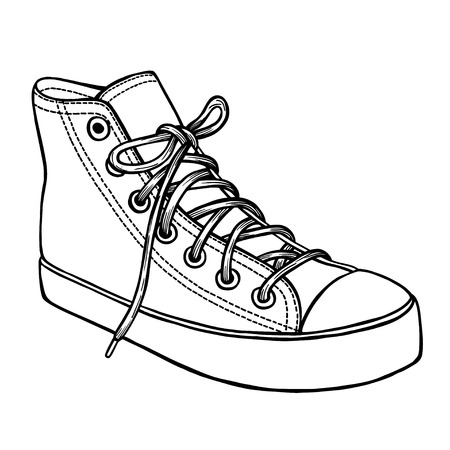 converse shoes clipart. converse shoe: hand drawn sketch of sport shoes, sneakers for summer. vector stock shoes clipart