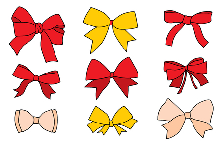 Set of bows. Vector illustration, isolated on white