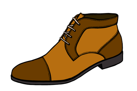 dirty clothes: boot illustration in sketch style. Vector isolated on white