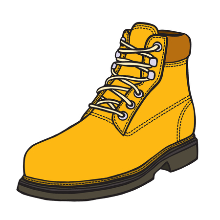 military draft: boot illustration in sketch style. Vector isolated on white