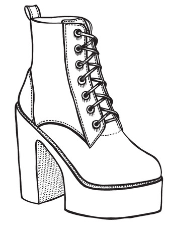 military draft: Shoe, hand-drawn in sketch style. Vector illustration of a shoe.